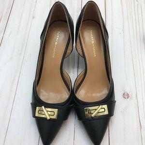 Tommy Hilfiger black/gold pointed toe pumps